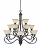 Designers Fountain (961815-NI) Barcelona 15 Light Chandelier in Natural Iron