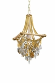 Barcelona Interior 1 Light Mini Pendant Ceiling Mount shown in Silver and Gold Leaf by Corbett Lighting
