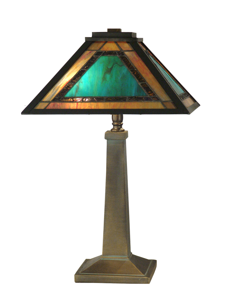 Dale Tiffany Lighting (TT10499) Brea Tiffany Mission Table Lamp shown in Antique Bronze/Verde Finish