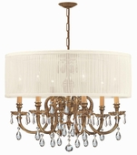 Brentwood Collection 6 Light Chandeliers with Hand Polished Crystals shown in Olde Brass by Crystorama Lighting