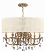 Crystorama (2916-OB-SAW-CLM) Brentwood 6 Light Drum Shade Brass Chandelier