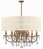 Brentwood Collection 6 Light Chandeliers with Swarovski Elements Crystals shown in Olde Brass by Crystorama Lighting