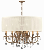 Brentwood Collection 6 Light Chandeliers with Swarovski Spectra Crystals shown in Olde Brass by Crystorama Lighting