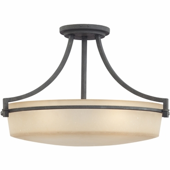 Caitlyn-  Style Caitlyn Semi-Flush Mount In Grey Ash Finish From Quoizel Lighting- CTL1722GK