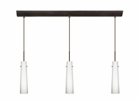 Camino Pendant 3 Light Bar Cord Fixture shown in Bronze with Opal Matte Glass Shade by Besa Lighting