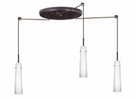 Camino Pendant 3 Light Large Round Cord Fixture shown in Bronze with Opal Matte Glass Shade by Besa Lighting