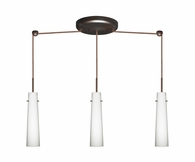 Camino Pendant 3 Light Linear Cord Fixture shown in Bronze with Opal Matte Glass Shade by Besa Lighting