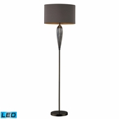 Carmichael Glass & Steel Floor Lamp shown in Steel Smoked And Black Nickel by Dimond Lighting