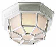 Exteriors by Craftmade (Z389-04) Bulkhead 1 Light Large 10.6 Inch Flush Mount in Matte White & Frosted Glass