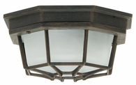 Exteriors by Craftmade (Z389-07) Bulkhead 1 Light Large 10.6 Inch Flush Mount in Rust & Frosted Glass