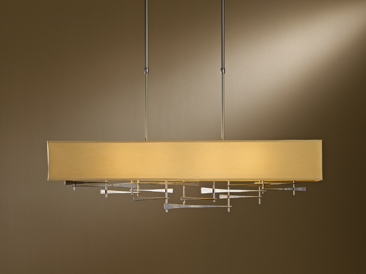 Hubbardton Forge (137670) 4 Light Cavaletti Pendant shown in Burnished Steel Translucent Finish