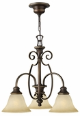 Hinkley Lighting (4563AT) Cello 3-Light Chandelier in Antique Bronze with Vintage Faux Alabaster Shade