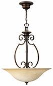 Hinkley Lighting (4564AT) Cello 3-Light Foyer Pendant in Antique Bronze with Vintage Faux Alabaster Shade