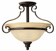 Hinkley Lighting (4561AT) Cello 2-Light Semi-Flush Mount in Antique Bronze with Vintage Faux Alabaster Shade