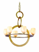 Cirque Interior 6 Light Chandelier Ceiling Mount shown in Champagne Leaf by Corbett Lighting