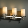 Justice Design (CLD-8533) Deco 3-Light Bath Bar from the Clouds Collection
