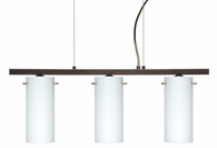 Copa 3 Pendant 3 Light Linear Fixture shown in Bronze with Opal Matte Glass Shade by Besa Lighting