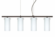 Copa 3 Pendant 4 Light Linear Fixture shown in Bronze with Opal Matte Glass Shade by Besa Lighting
