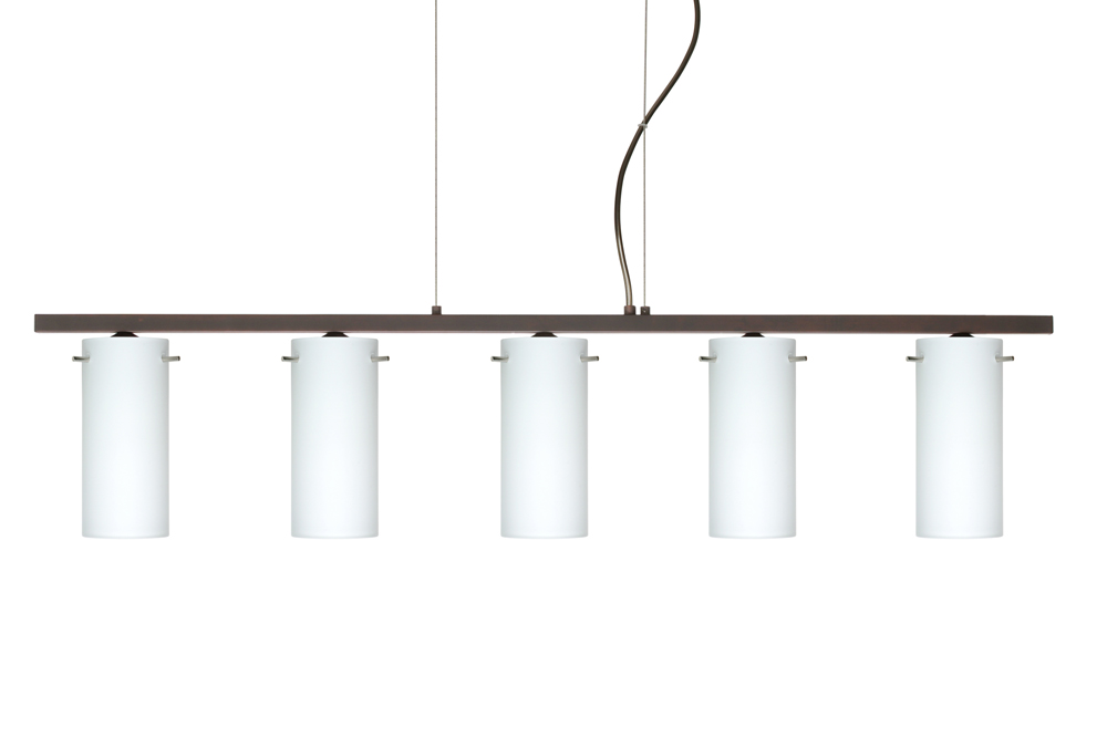 copa 3 pendant 5 light linear fixture shown in bronze with