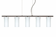 Copa 3 Pendant 5 Light Linear Fixture shown in Bronze with Opal Matte Glass Shade by Besa Lighting
