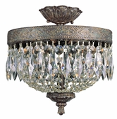 Crowned Crystal 2 Light Flush-mount shown in Dark Bronze W/ Gold by Trans Globe Lighting