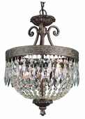Crowned Crystal 2 Light Pendant shown in Dark Bronze W/ Gold by Trans Globe Lighting