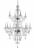 Crystal Fountain 2 Tier Chandelier shown in Polished Chrome by Trans Globe Lighting