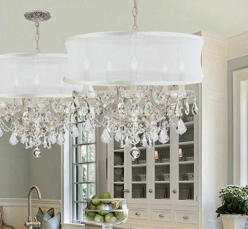 4415CHSMWCLM Brentwood 6 Light Crystal Chrome Drum Shade – Crystorama Chandeliers