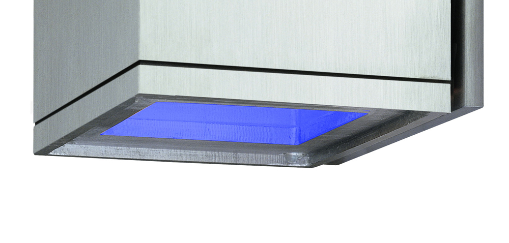 Cube Blue Glass Insert Option Shown In Satin Aluminum By