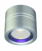 CSL Lighting (SS1015A) Entity 1 Light Flush Mount with Blue Conical Glass shown in Satin Aluminum