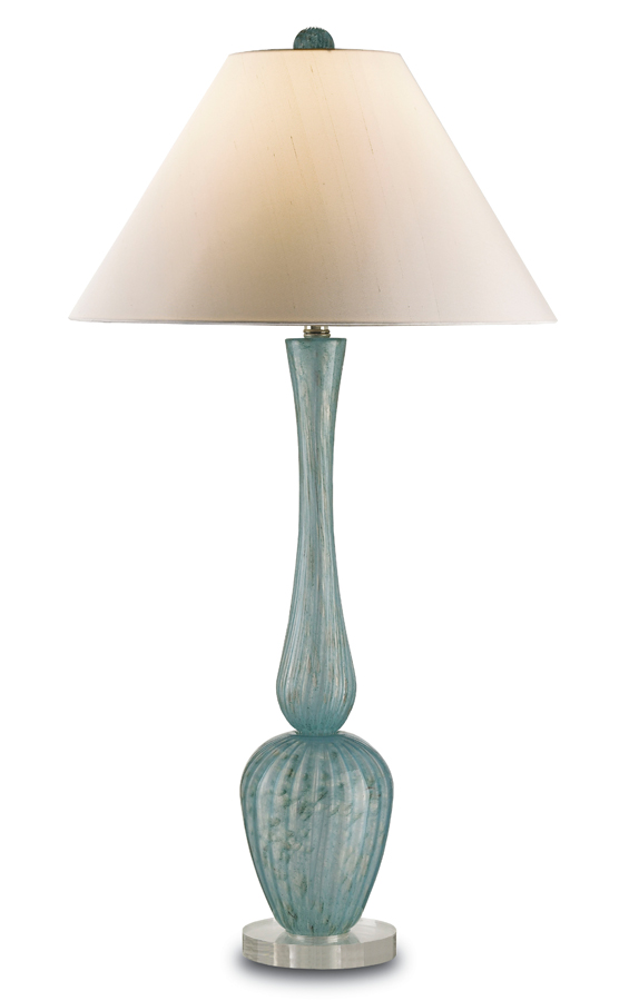 Currey & Co. Alba Table Lamp In Aqua Blown Glass/Clear - 6072