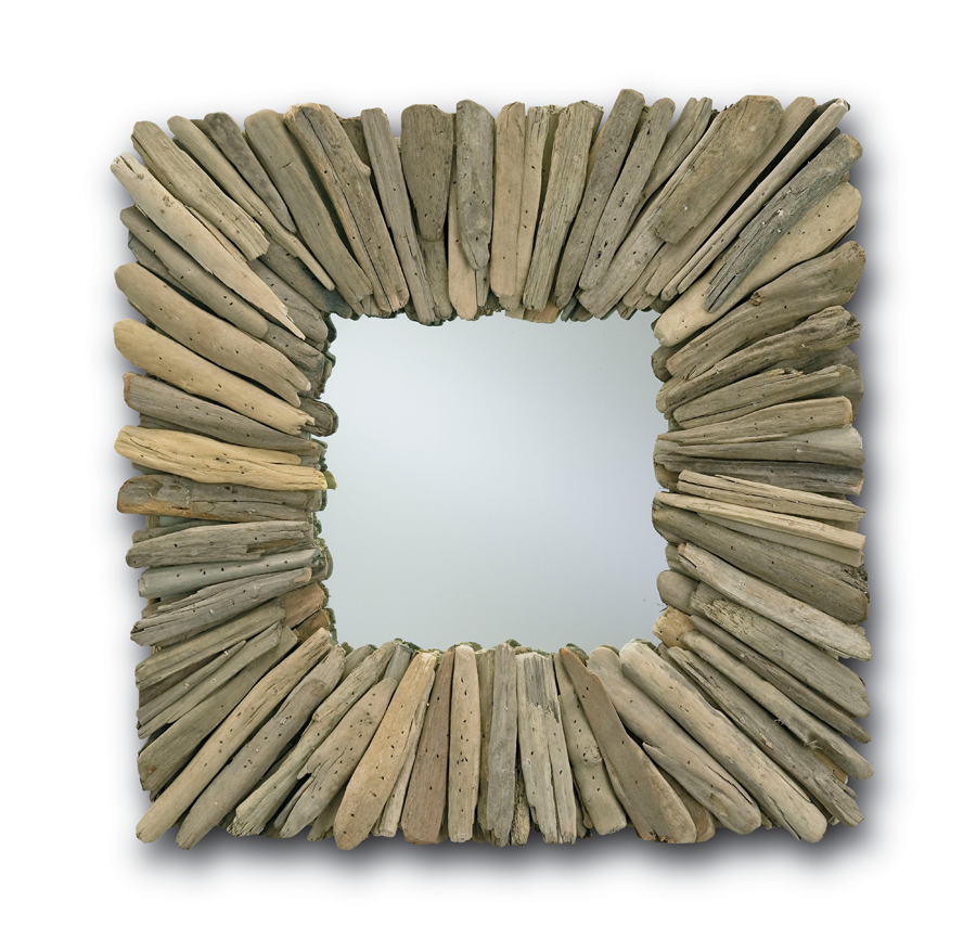 Currey & Co. Beachhead Mirror, Square In Natural Driftwood - 1030