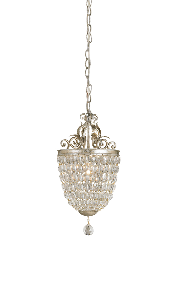 Currey & Co. Bettina Pendant In Silver Leaf - 9004