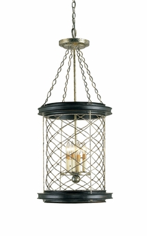 Currey & Co. Crosscliff Lantern In Silver Leaf/Gold Leaf/Black - 9165