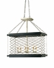 Currey & Co. Crosscliff Rectangular Chandelier In Silver Leaf/Gold Leaf/Black  - 9167