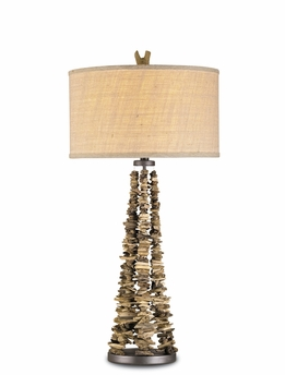 Currey & Co. Dogma Table Lamp In Natural/Aged Steel - 6460