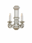 Currey & Company (5042) Domani 2 Light Wall Sconce shown in Harlow Silver Leaf & Antique Mirror