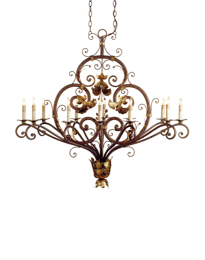 Currey & Co. Dominion Oval Chandelier  In Cupertino/Gold Leaf - 9372