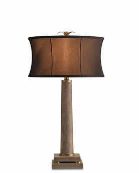 Currey & Co. Langston Table Lamp In Brown Shagreen - 6307