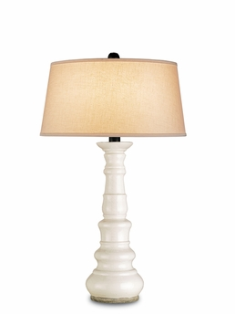 Currey & Co. Linden Table Lamp In Antique White Crackle - 6394