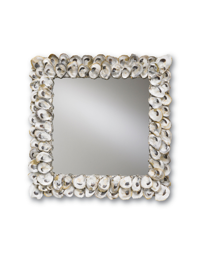 Currey & Co. Oyster Shell Mirror, Square In Natural Shell - 1348