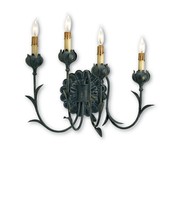 Currey & Co. Quadrille Wall Sconce In French Black - 5068