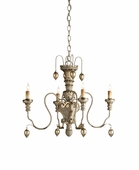 Currey & Co. Rossetti Chandelier, Mini In Provencial White/Silver Leaf - 9981