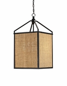 Currey & Co. Wiggins Lantern In Black/Natural Burlap - 9093