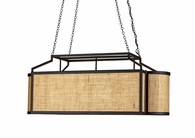 Currey & Co. Wiggins Rectangular Chandelier In Black/Natural Burlap - 9094