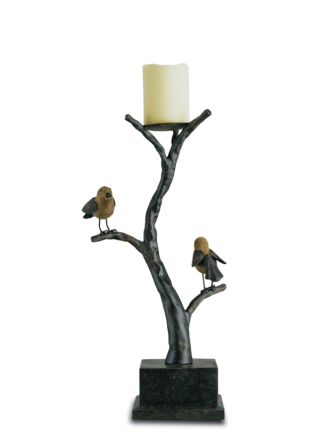 Currey & Co. Woodbury Candle Holder In Umber Rust/Washed Wood - 1033