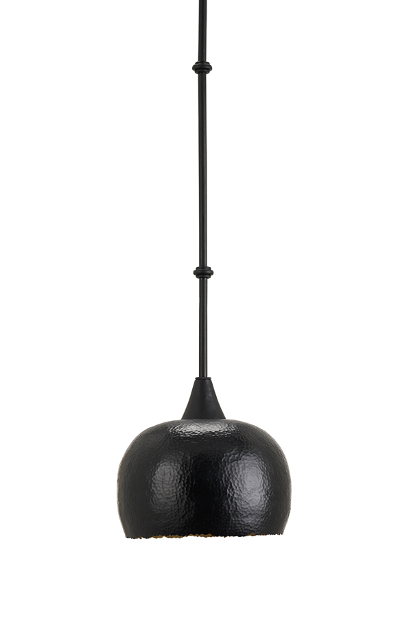 Currey & Co. Worktop Pendant, Large In Satin Black - 9147