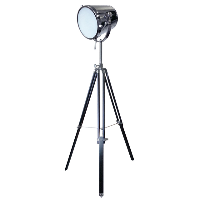 lighting 5553f pc tripod spotlight floor lamp in polished chrome. Black Bedroom Furniture Sets. Home Design Ideas