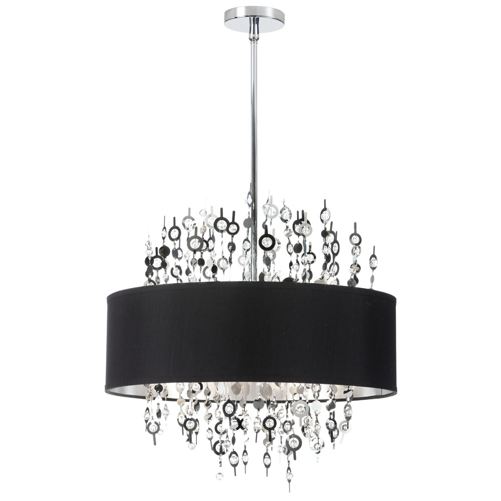 Black Chrome Crystal Chandelier With Shades