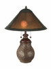 Dale Tiffany Lighting (TT10608) Mica Round Base Table Lamp shown in Antique Bronze Finish